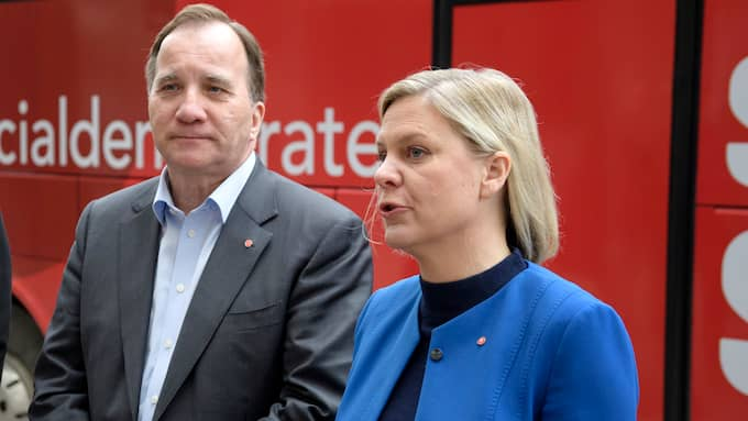 Stefan Löven och Magdalena Andersson. Foto: JESSICA GOW/TT / TT NYHETSBYRÅN