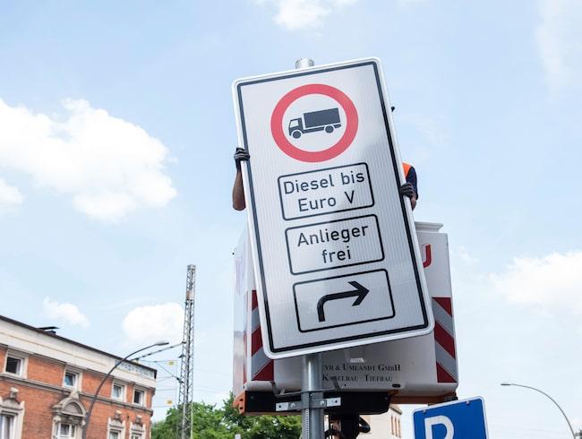 Så här ser miljözonerna ut i Hamburg i Tyskland.