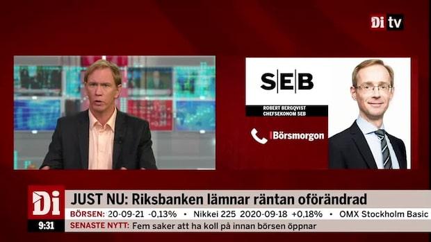 Riksbankens besked den 22 september - Lämnar räntan oförändrad