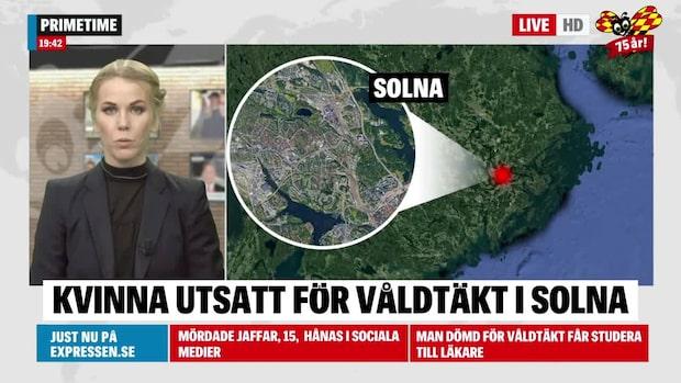 Kvinna misstänkt våldtagen i Solna