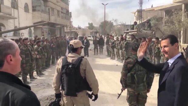 Bashar Al-Assad träffade de syriska trupperna i Ghouta
