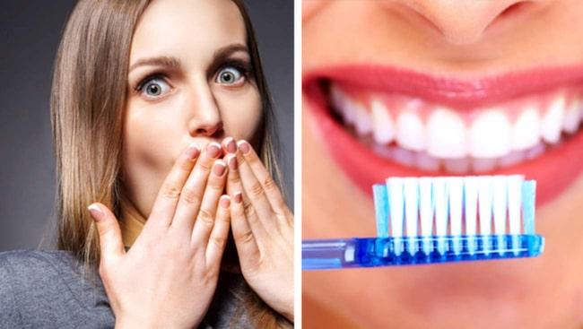 Att borsta tänderna efter frukost (beroende på vad du har ätit) kan i värsta fall göra emaljen så skör att tänderna längst upp går av.