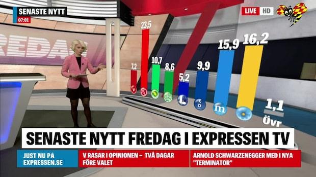 V rasar i opinionen två dagar före EU-valet
