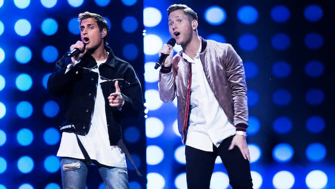 "Samir & Viktor tog sig till final i Melodifestivalen med bidraget ""Shuffla"". Foto: OLLE SPORRONG"