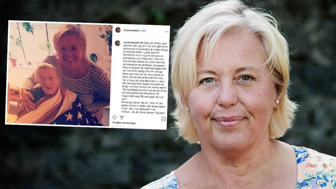 Suzanne Axells saknad – efter livslånga vännens död i corona