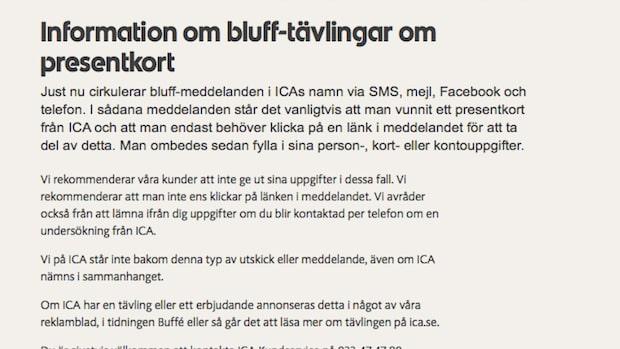 Bluff-SMS från Ica under julen – var bedragare