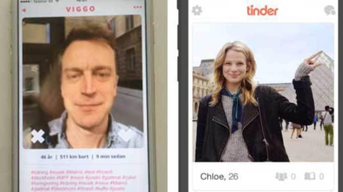 Viggo Cavling i appen Himynameis och en presentationsbild från Tinder.