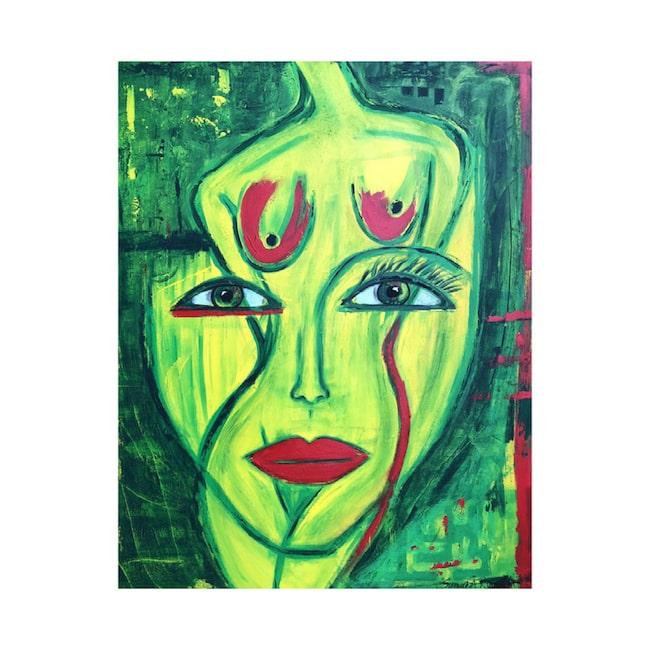 """Original! Det finns endast ett exemplar av tavlan """"Female marsian"""" av succékonstnären Susanne Åkeson Rosencrantz."""