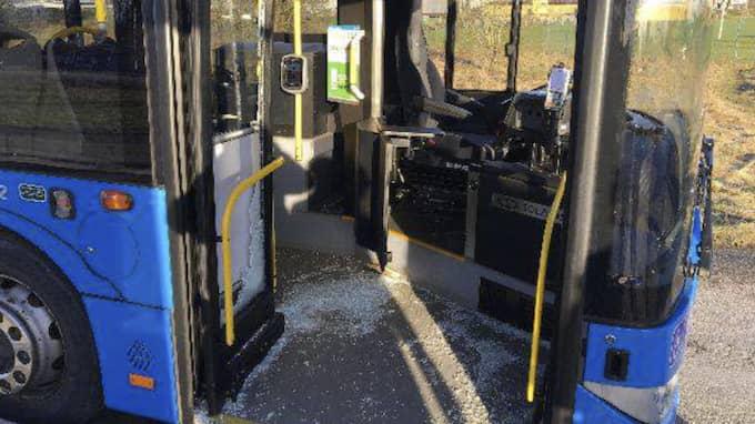 Mannen ska ha slagit sönder bussen med en träpåk. Foto: Polisen