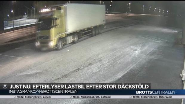 Mystisk lastbil misstänks ha dolt stulna lastbilsdäck