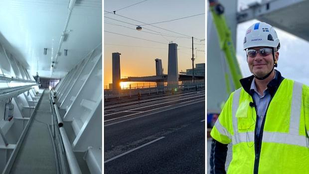Följ med upp på bygget av nya bron