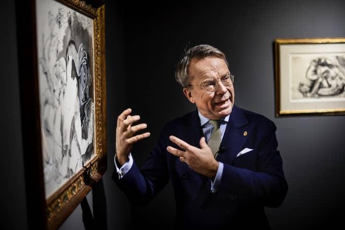 """Förutom att medverka i """"Antikrundan"""" i SVT driver Knut Knutson Uppsala auktionskammare, där han höll en auktion med fyra Picassomålningar. Foto: Pontus Lundahl / TT NYHETSBYRÅN"""