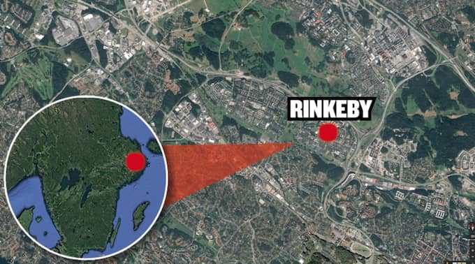 Poliserna attackerades i Rinkeby i Stockholm. Foto: Google earth