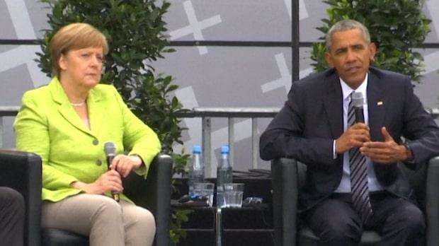 Obama på scen med Merkel inför storpublik
