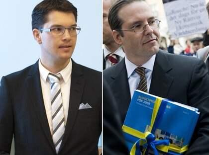 Om Sverigedemokraterna aktivt skulle rösta på ett gemensamt SVMP-förslag, skulle det stoppa regeringens budgetförslag. Men Jimmie Åkesson, SD, berättar att partiet kommer att lägga fram en helt egen budget. Foto: Henrik Montgomery / Scanpix