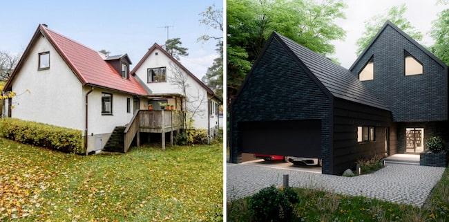 I februari köpte Pierre Leander det vita 40-talshuset med rött tegeltak som han nu planerar att förvandla till en svart lyxvilla.