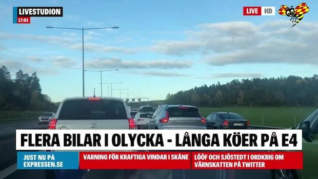 Långa köer på E4 söder om Stockholm