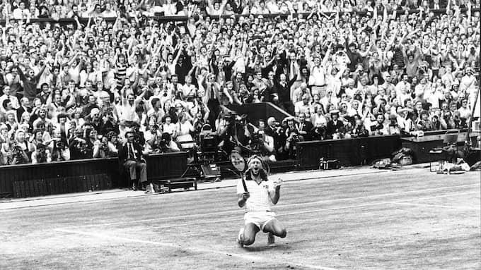 En jublande Björn Borg i segerögonblicket. Foto: OLLE SEIJBOLD / DN
