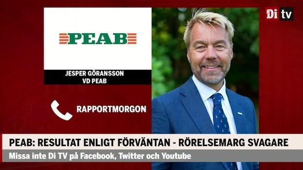 """Jesper Göransson vd PEAB: """"Bostadssidan förväntas att fortsätta gå ner 2021"""""""