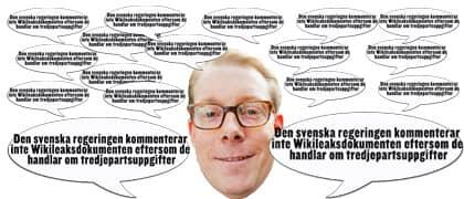 """""""Den svenska regeringen kommenterar inte Wikileaksdokumenten eftersom de handlar om tredjepartsuppgifter"""", säger Billström, när Rapport frågar om beskyllningarna ministern anklagats för."""