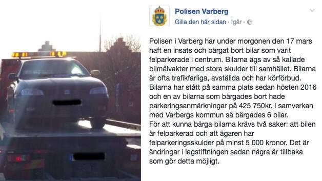 6 bilar bogserades bort från platsen nära en förskola som dragits med nedskräpning och tiggare som sovit i bilarna Foto: SKÄRMDUMP