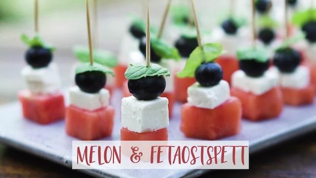Somriga snittar – melon- och fetaostspett