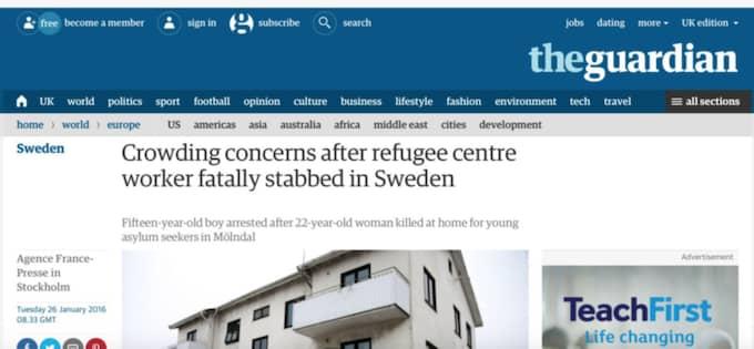 """THE GUARDIAN """"Svenska tjänstemän efterlyser skärpt säkerhet på överfulla asylcenter dagen efter ett knivdåd som dödade en anställd på ett mottagningscenter för ensamkommande barn"""""""