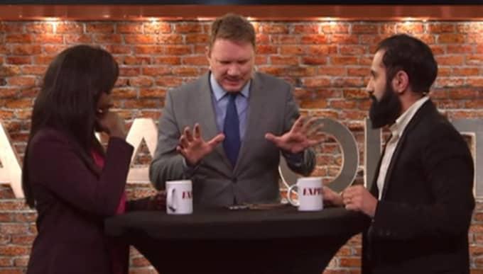 """Här ryker riksdagsledamoten Hanif Bali (M) och partiledaren Victoria Kawesa (FI) ihop framför tv-kamerorna i Expressens """"Bara Politik – med Niklas Svensson"""". Foto: Expressen TV"""