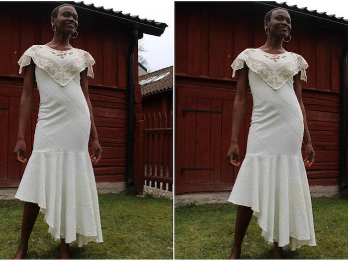 834c21d7f75f Sara sydde bröllopsklänning – av ett överkast från Ikea   Leva & bo