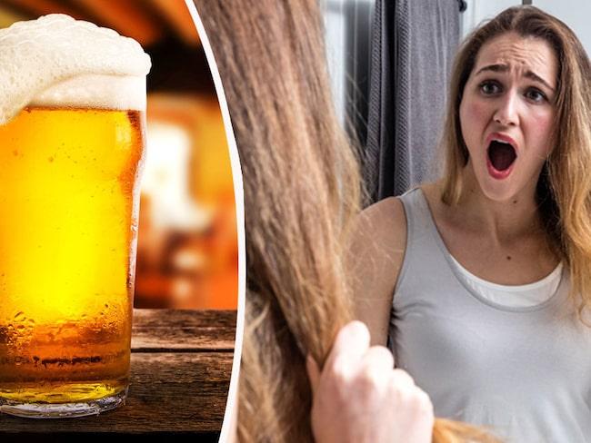 Blir håret friskt och glansigt om man tvättar det med öl?