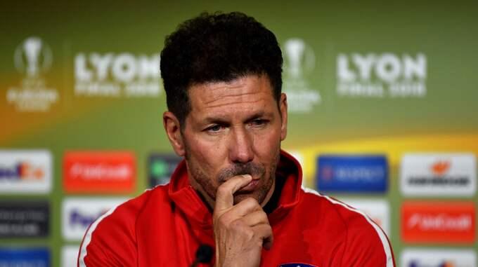 Diego Simeone är avstängd och får inte coacha sitt Atlético. Foto: UEFA HANDOUT / EPA / TT / EPA TT NYHETSBYRÅN