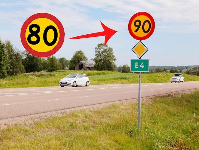 Nu sänks hastigheterna på ett flertal vägar. (Bilden är ett montage.)