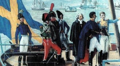 Karl Johan landstiger i Helsingborg den 29 oktober 1810. På kajen väntar en nervös landshövding från Göteborg.