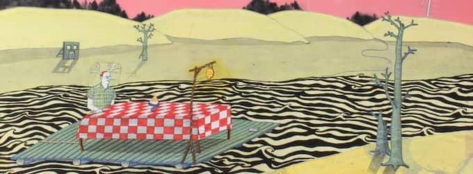"""ROSA. Ida-Lovisa Rudolfssons """"Floden"""", ett psykedeliskt drama med färgen och drömmen i huvudrollerna. I dialog med Kolbeinn Karlssons """"Att sova och drömma om mat"""". (Bilden är beskuren)."""
