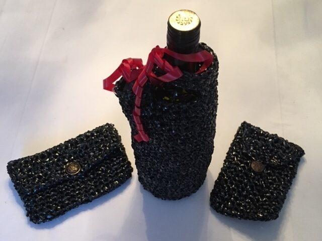 Presentförpackning till vin, plånbok och telefonfodral. Visst blir man sugen att testa?! Bästa gå bort-presenten!
