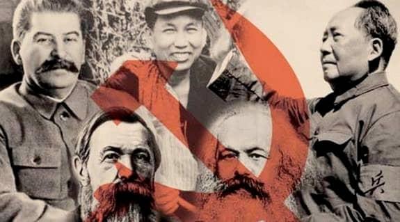 Marx, Engels, Stalin, Mao och Pol Pot, några av kommunismens förgrundsgestalter. Ana Maria Narti, före detta riksdagsledamot för folkpartiet, skriver i dag att Forum för levande historia vägrar se att det finns en tydlig koppling mellan Fascism och kommunism. Foto: STEN WESTBERG