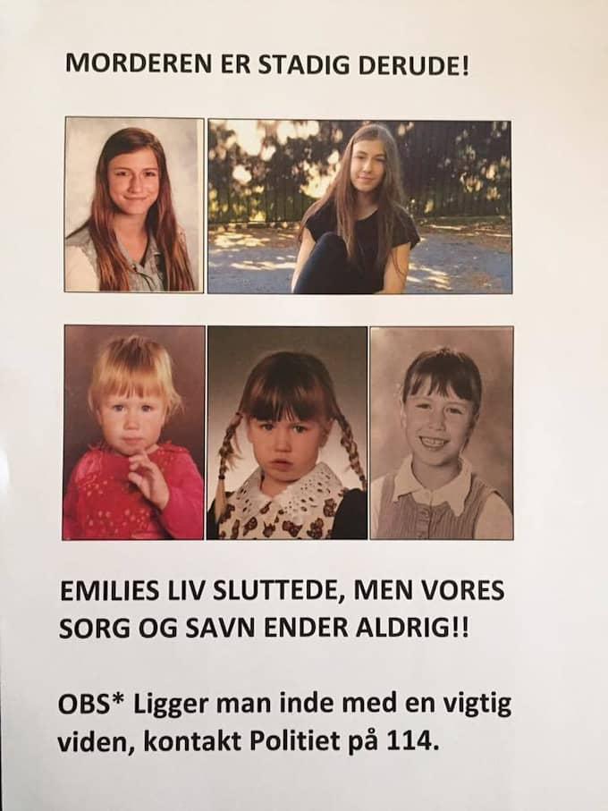 Nya bilder från familjen. Affischen lades ut i veckan och Emilie Mengs efterlevande ber alla att dela, printa och sätta upp den. Foto: Privat
