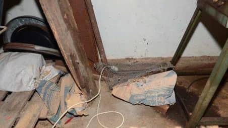 Vid den tekniska undersökningen hittade man även cementsäckar. Foto: POLISEN