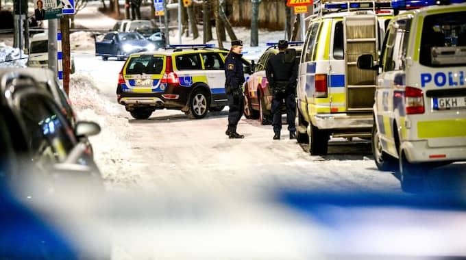 Polisen hade sent i går kväll ingen gripen för mordn. Foto: Alex Ljungdahl / ALEX LJUNGDAHL EXPRESSEN
