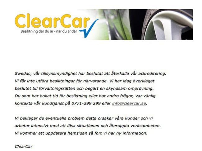 Stängt – på hemsidan uppmanas kunder som bokat tid att höra av sig till kundtjänst.