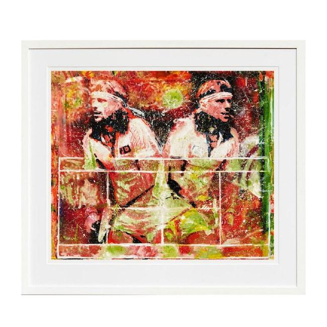 """<span>Tavlan """"Game, set, match"""" med Björn Borg av konstnären Maria Larkman. Klicka på plusset i bilden för att handla i LEVA&BO:s konstgalleri.</span>"""
