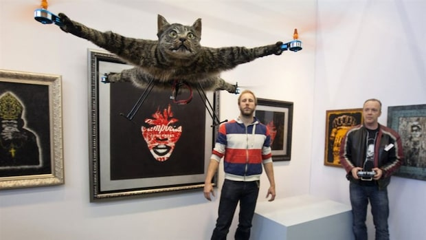Konstnär förvandlade katt till helikopter