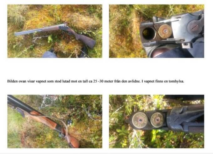 Vapnet stod lutad mot en tall 25-30 meter från den avlidne. Foto: Polisen