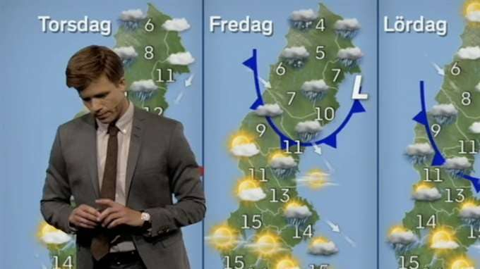 Meteorologen Nils Holmqvist hade en svår sändning under måndagens väderprognos. Foto: SVT