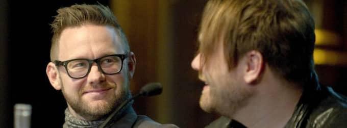 Jocke Berg och Martin Sköld i Kent under tisdagens presskonferens på Berns i Stockholm. Foto: Maja Suslin / Scanpix