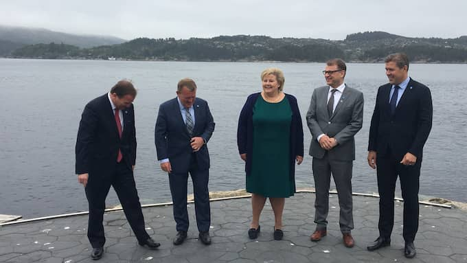 De nordiska statsministrarna tog i går fågelskit till hjälp när de skulle ställa upp för fotografering på ön Holmen utanför Bergen.