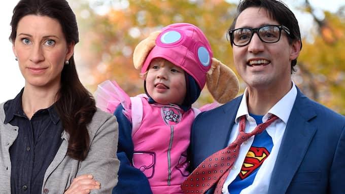 Vad är en riktig man? Kanadas premiärminister, Justin Trudeau, klädde ut sig till Clark Kent på Halloween. På hans arm satt sonen Hadrien.