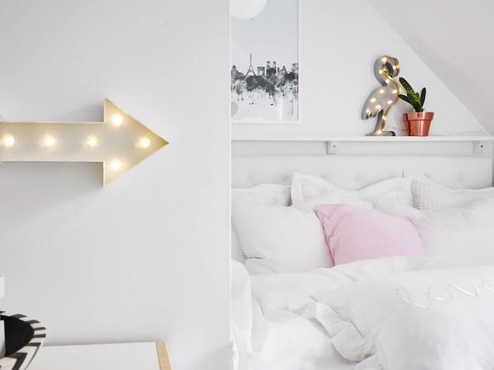 Pennys beskrivning av sitt nya sovrum: Rosa, fräscht, vita väggar, kuddar, sköna sängar, vuxenkänsla.