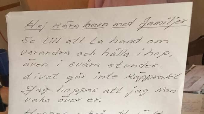 """""""Jag hoppas att jag kan vaka över er"""" skrev Elsiann på en lapp till familjen. Foto: Privat"""