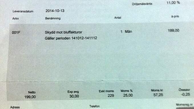Skydd mot bluffakturor i en månad ska enligt fakturan kosta 199 kronor, sedan tillkommer både moms och expeditionsavgift.